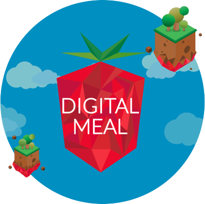 Round blue circle with Digital Meal Logo in center