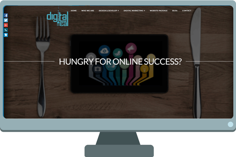 Desktop monitor with picture of old Digital Meal website