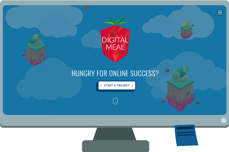 Desktop monitor with picture of new Digital Meal Website