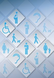Image depicting people with a range of accessibility needs