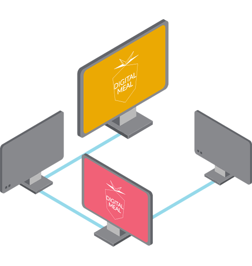 Four PC monitors connected to each other to represent the Google Display Network