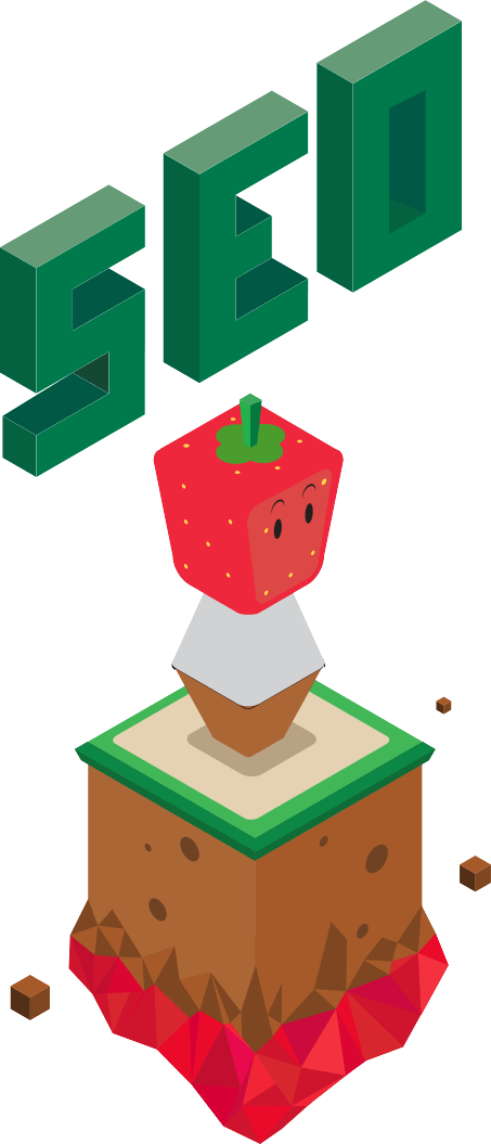 "strawberry man with the words ""SEO"" floating above his strawberry head"