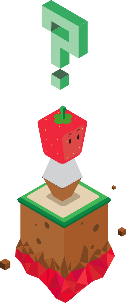 strawberry man with a floating question mark above his strawberry head