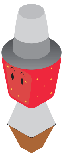 strawberry man wearing a white hat