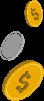 three coins falling arbitrarily