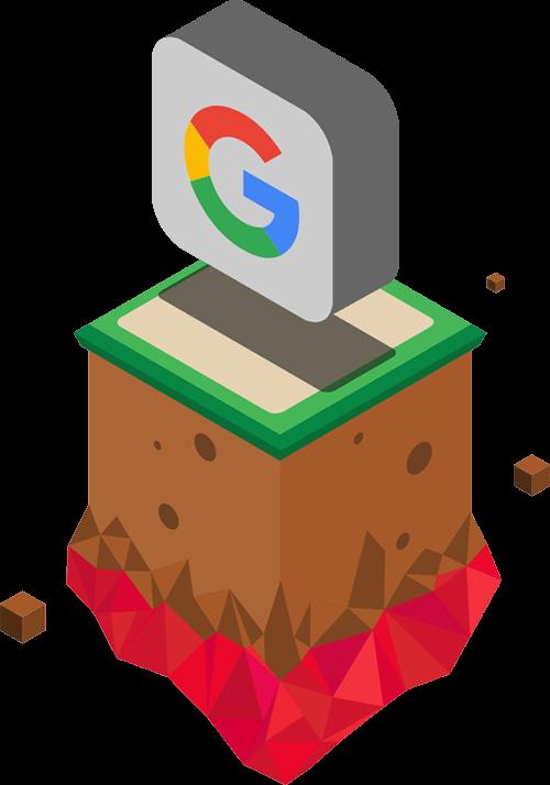 a floating Google logo