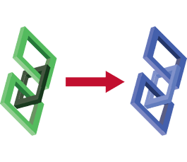 a green link turning into a blue link
