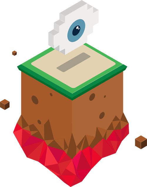 a creepy looking isometric eye