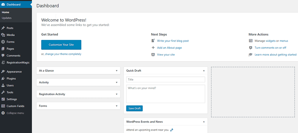 Wordpress CMS Dashboard