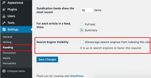 Wordpress Search Engine Visibility