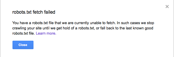 Failed Robots.txt Fetch