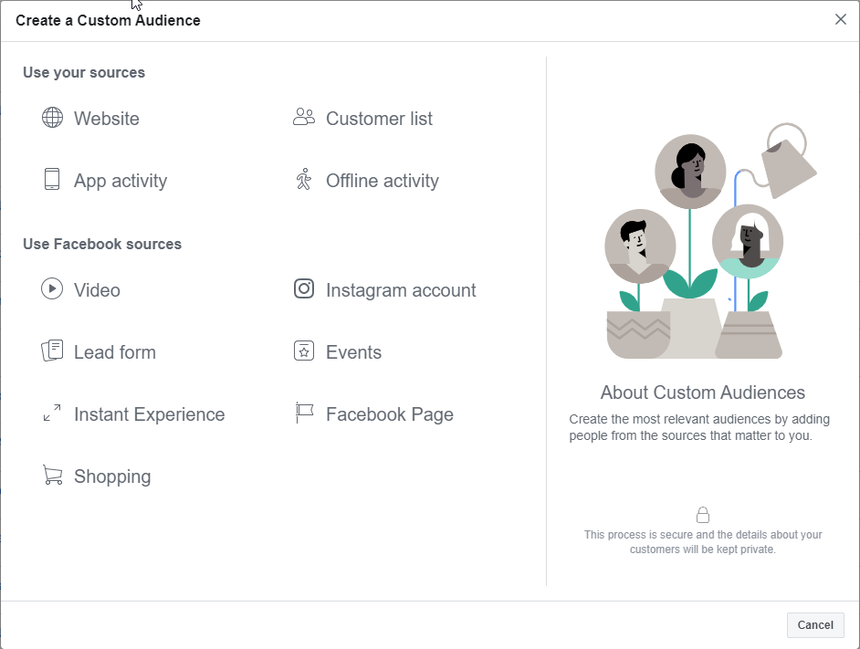Types of Data Sources for Facebook Custom Audiences