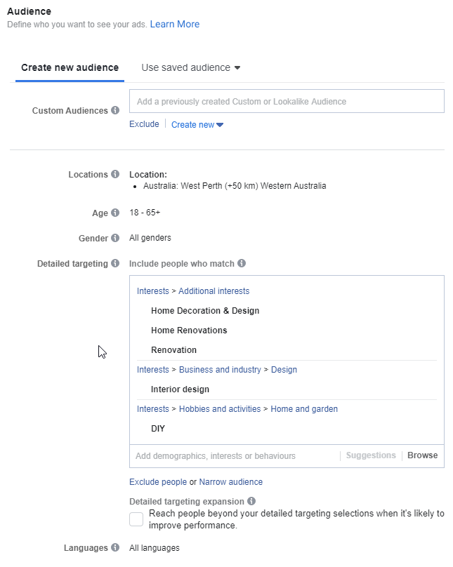 Example of Facebook Targeting for Renovation Business