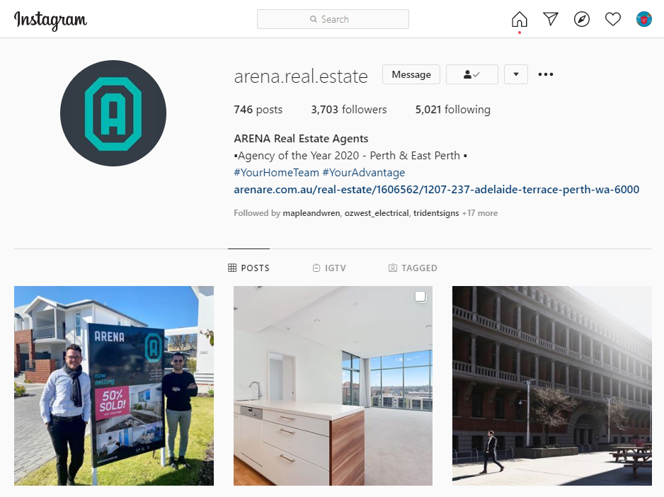 Instagram Profile of Arena Real Estate