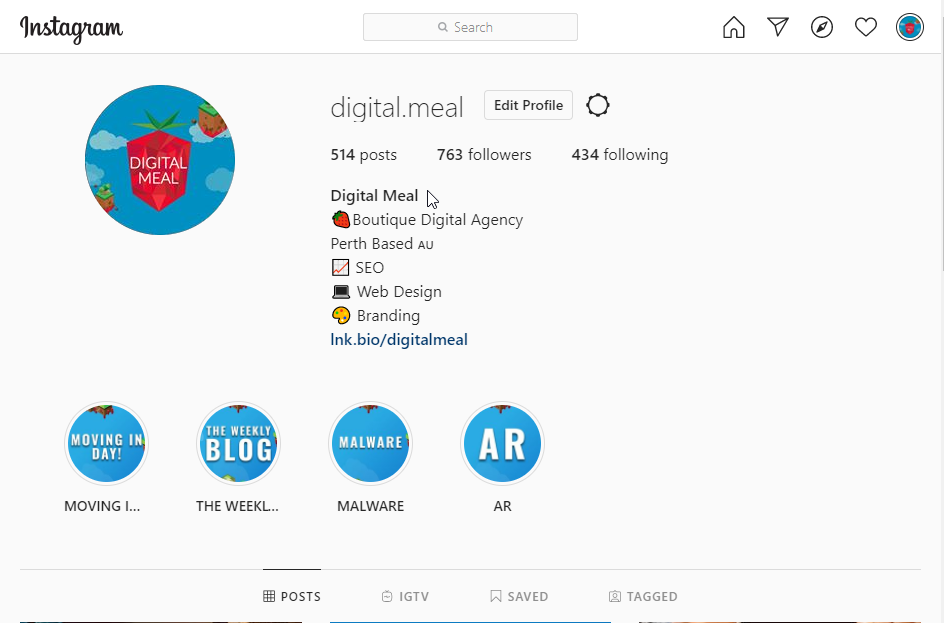 Instagram Profile of Digital Meal